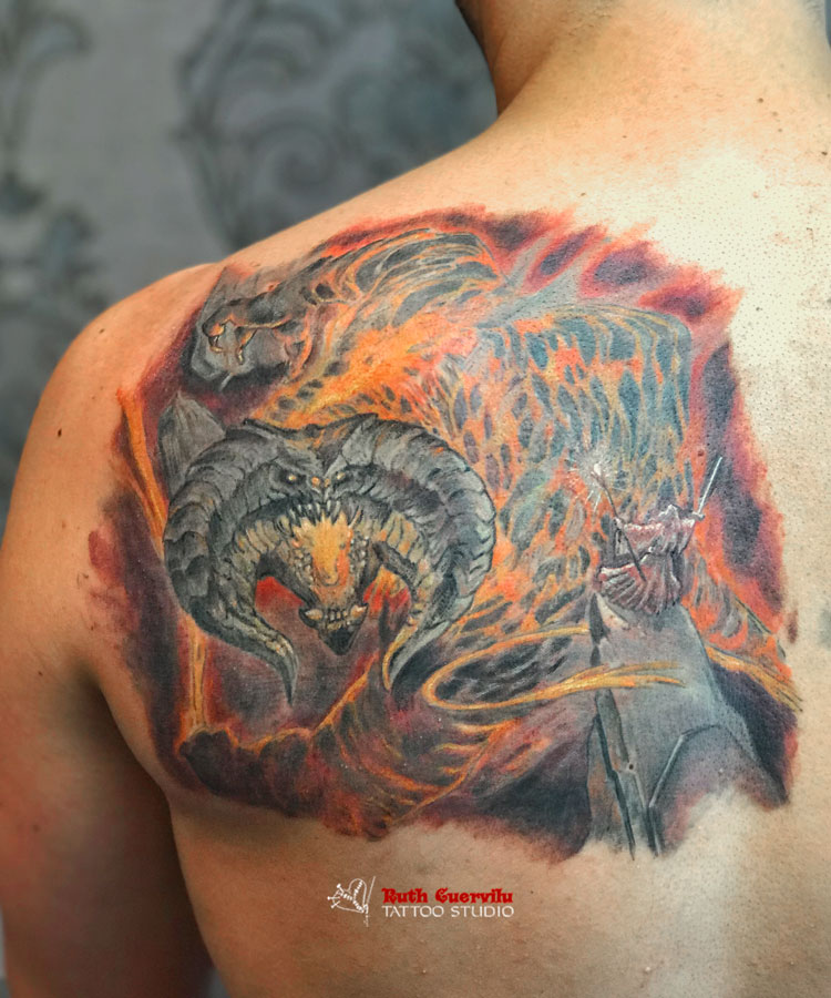 Ruth Cuervilu Tattoo - KM13 Studio - Gandalf vs Balrog