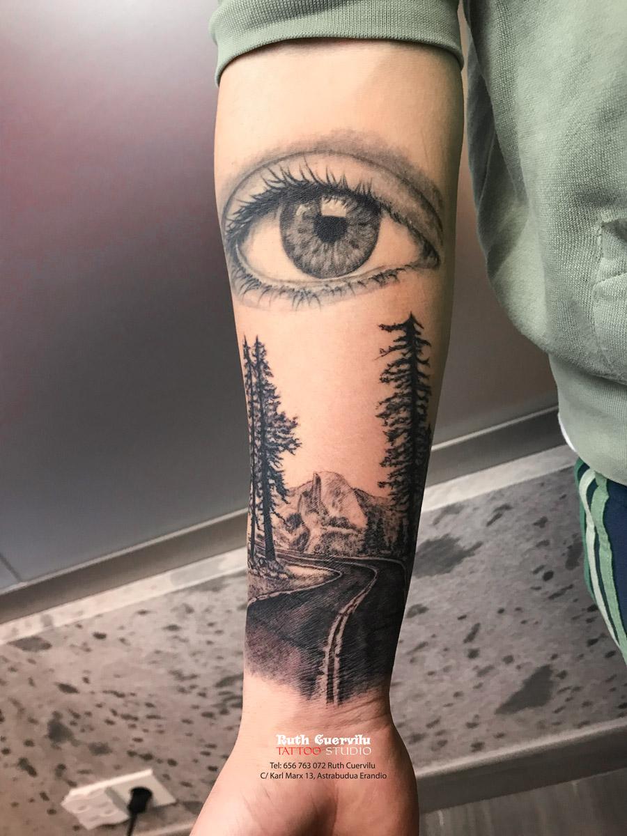 Ojo carretera yosemite curado - Ruth Cuervilu Tattoo - KM13 Studio, , estudio tatuajes erandio