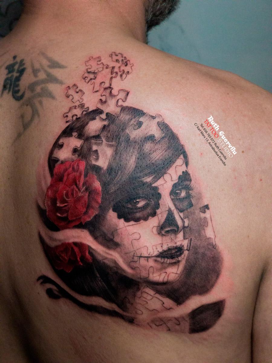 Catrina Puzzle, Realismo tatuaje - - Estudio Tatuajes Erandio, KM13 Studio, Ruth Cuervilu Tattoo