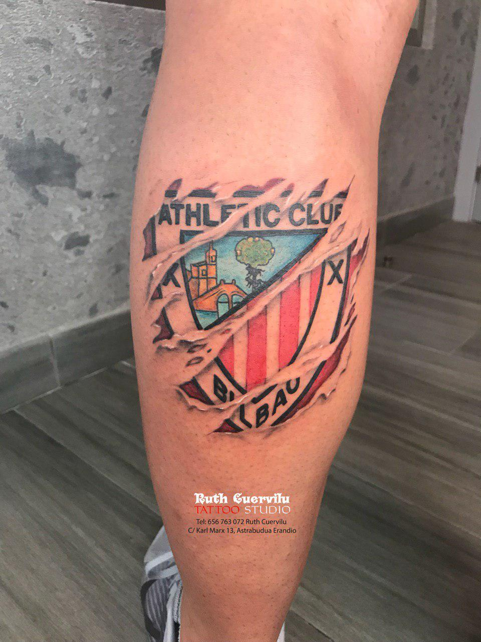 Tatuaje Athletic Club Bilbao - ruth cuervilu tattoo - km13 studio - estudio de tatuajes en Astrabudua Erandio