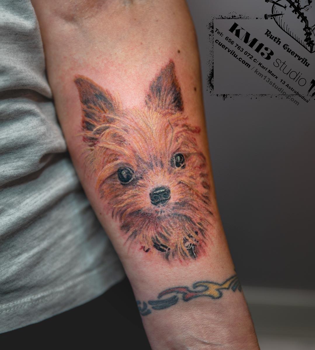 Tatuaje Retrato Perro COCO - Ruth Cuervilu Tattoo - KM13 Studio