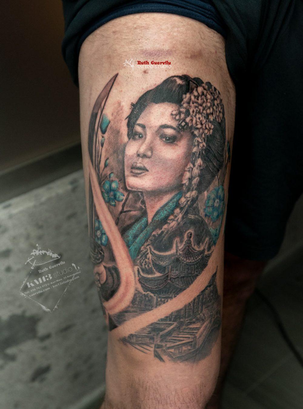 Tatuaje Geisha y Pagoda - Ruth Cuervilu Tattoo - KM13 Studio - Estudio de tatuajes en Astrabudua Erandio Bizkaia Bilbao