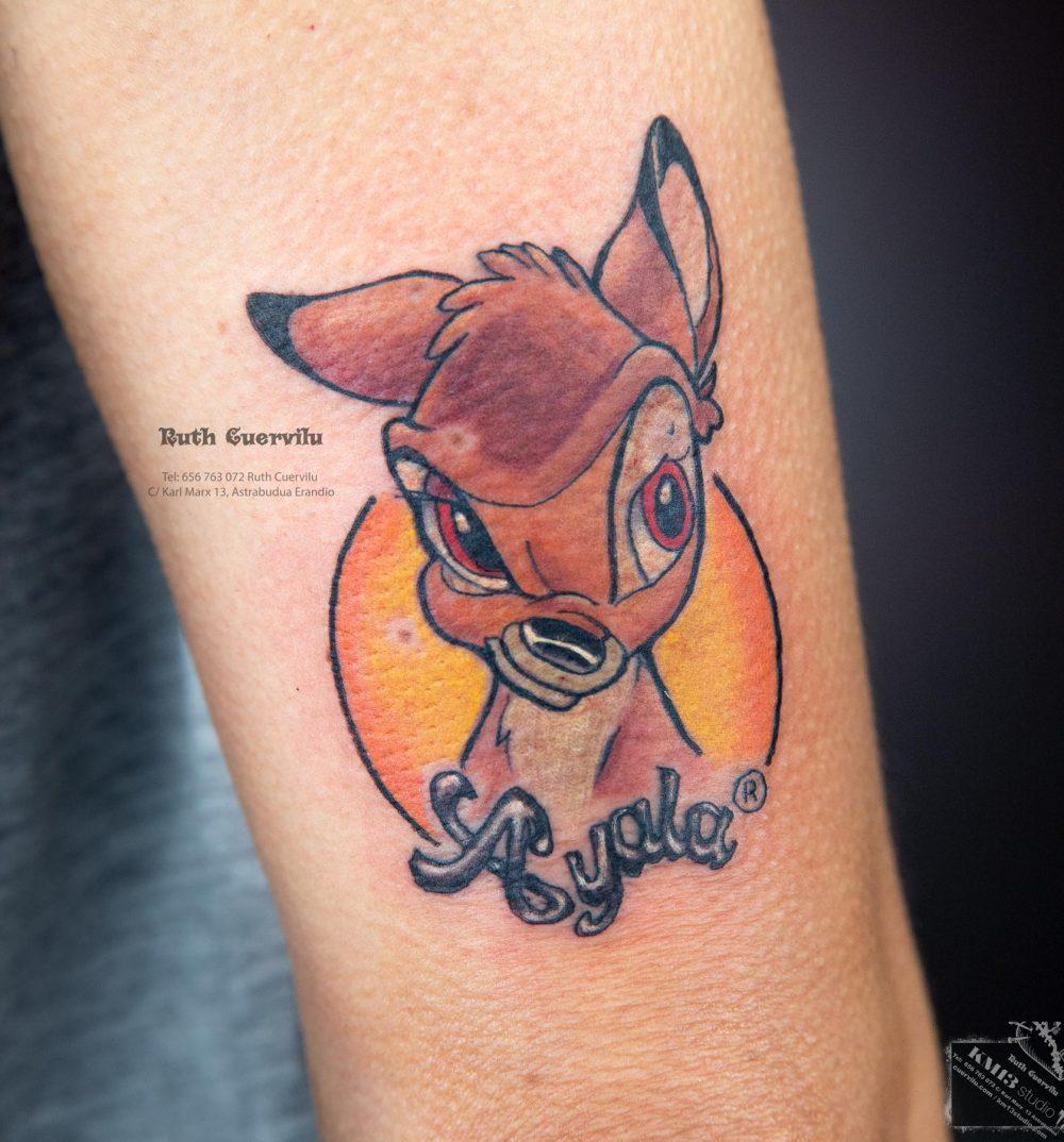 Tatuaje Bambi Ayala - Ruth Cuervilu Tattoo - KM13 Studio - Estudio de tatuajes en Astrabudua Erandio, Bizkaia Bilbao Getxo