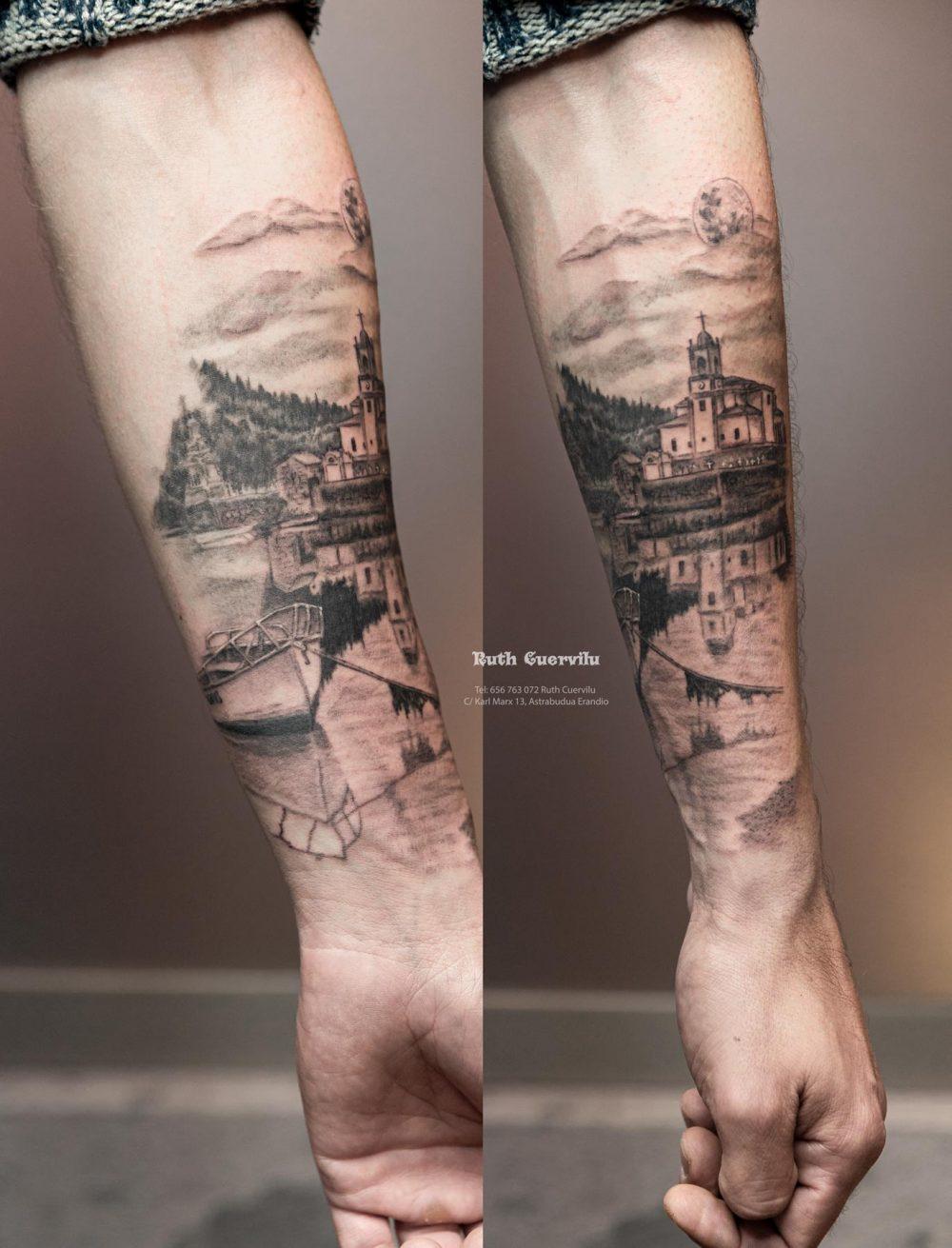 Tatuaje Iglesia y barca Barru Niembru - Ruth Cuervilu Tattoo - KM13 Studio - Estudio de tatuajes Astrabudua Erandio Bizkaia Bilbao Barakaldo Getxo Leioa Gasteiz Cantabria Asturias