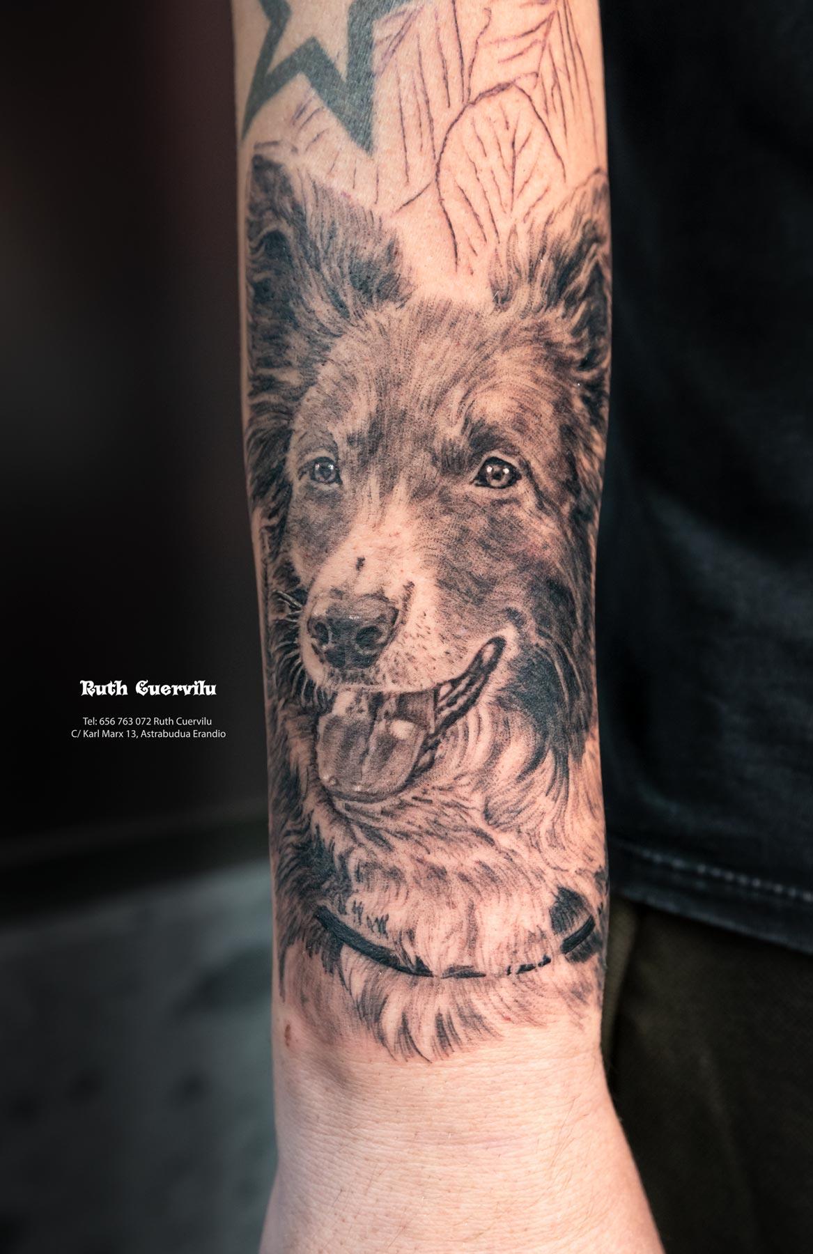 Tatuaje Retrato Perro Sesion 1 - Ruth Cuervilu Tattoo - KM13 Studio - Estudio de tatuajes en Astrabudua Erandio Getxo, Bilbao Bizkaia Basauri barakaldo portugalete