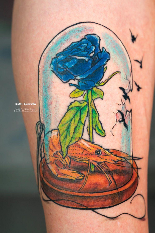 Tatuaje Rosa Gamba Anzuelo en cupula Aizea - Ruth Cuervilu Tattoo - KM13 Studio - Estudio de tatuajes en Astrabudua Erandio Getxo, Bilbao Bizkaia Basauri barakaldo portugalete Leioa