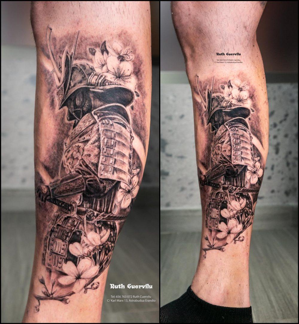 Tatuaje Samurai Black and grey - Ruth Cuervilu Tattoo - KM13 Studio - Estudio de tatuajes en Astrabudua Erandio Getxo, Bilbao Bizkaia Basauri barakaldo portugalete