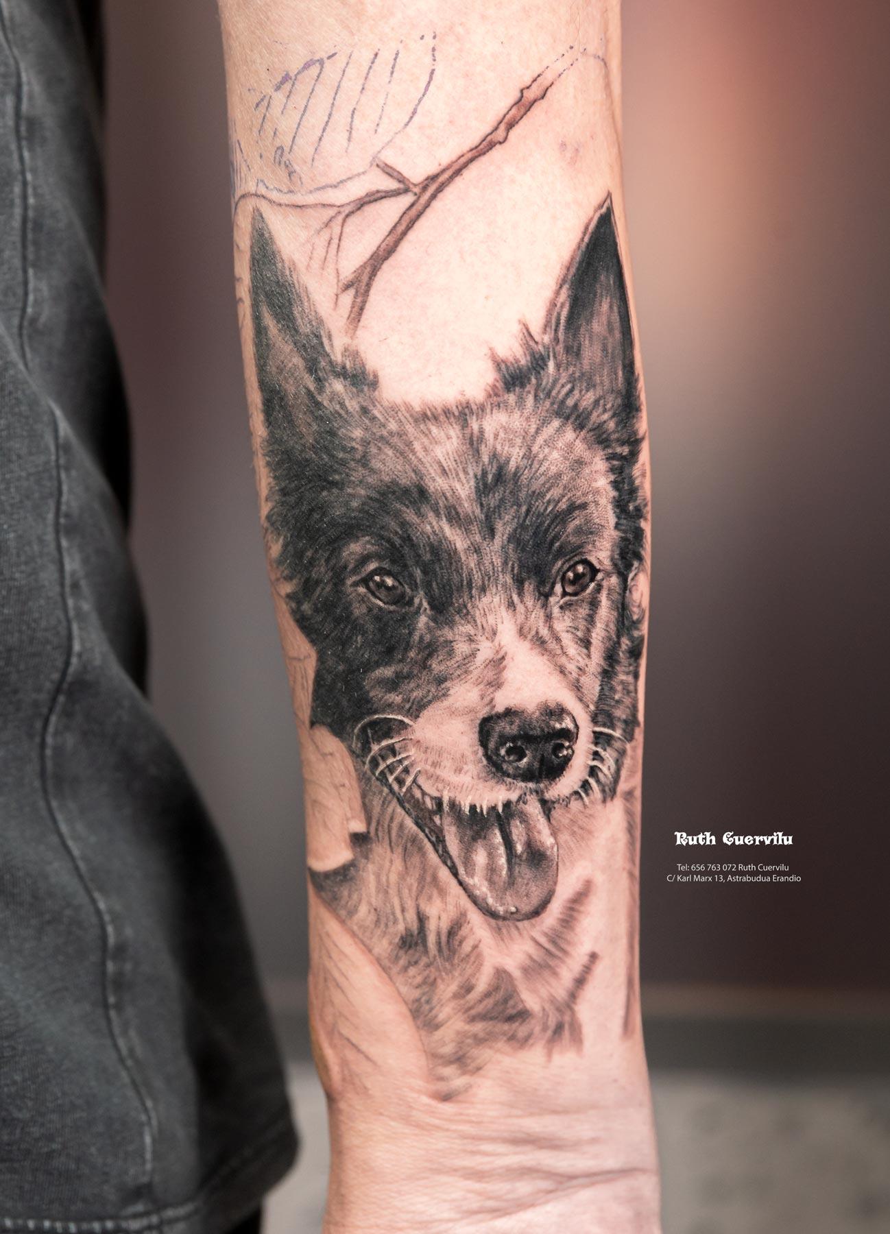 Tatuaje Retrato Perros 2 sesion manga - Ruth Cuervilu Tattoo - KM13 Studio - Estudio de tatuajes Astrabudua Erandio Bizkaia Bilbao Barakaldo Getxo Leioa Gasteiz Cantabria