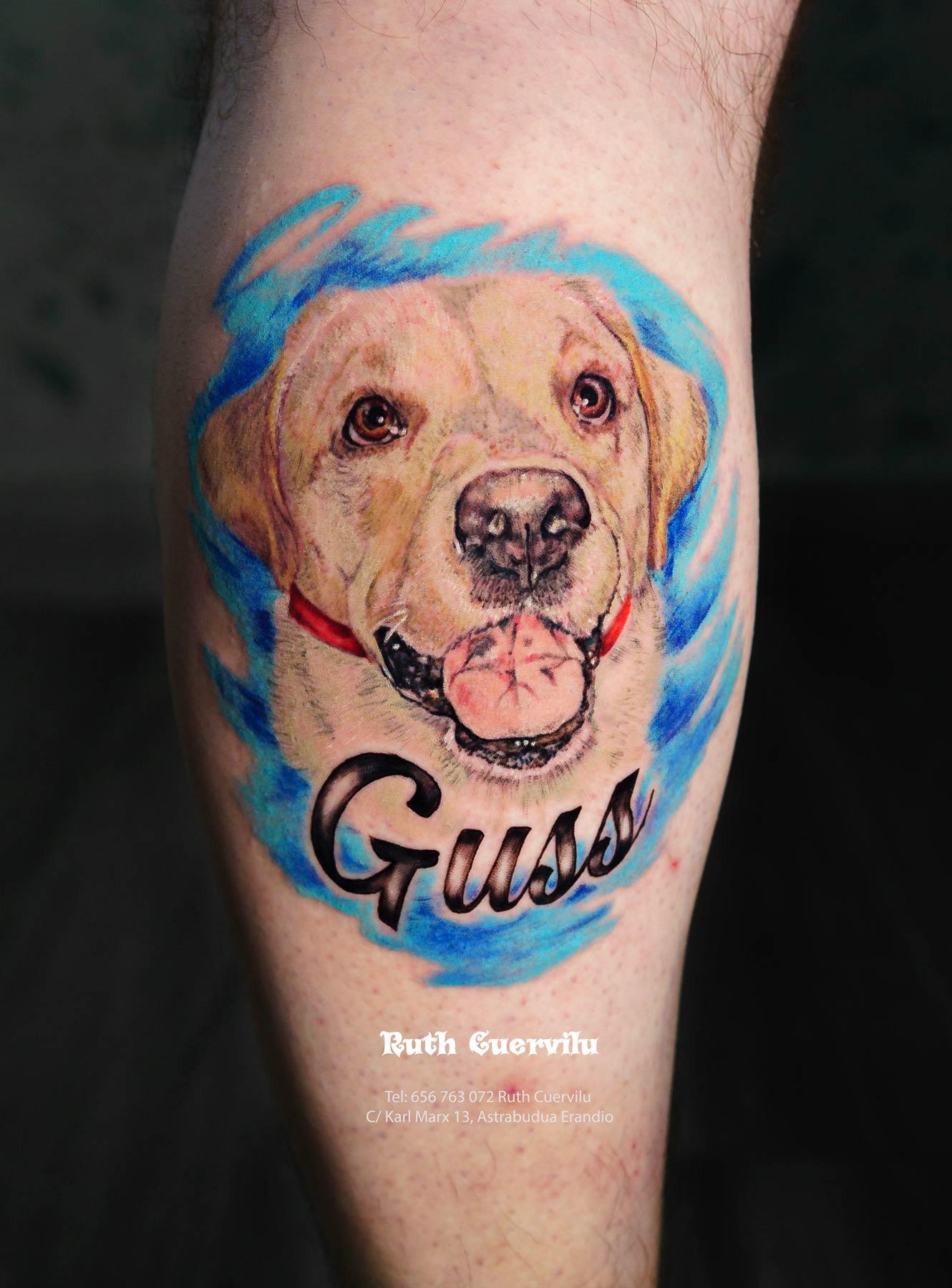 Tatuaje Retrato Guss Mascota Perro - Ruth Cuervilu Tattoo - KM13 Studio - Estudio de tatuajes en Astrabudua Erandio Getxo, Leioa Bilbao Bizkaia Basauri barakaldo portugalete Loiu Artaza