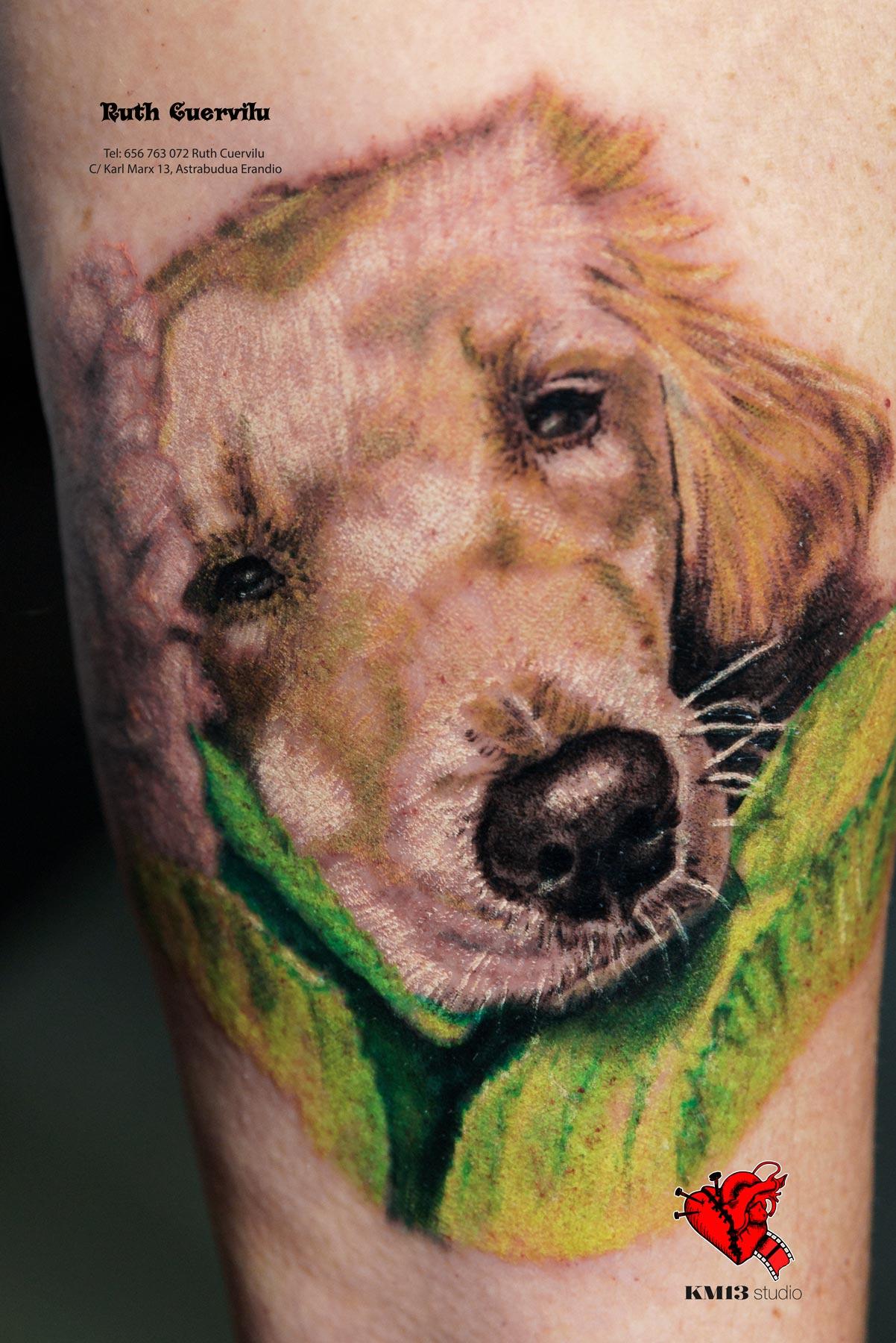 Tatuaje Mascota Realismo a color Perrito Bimba - Ruth Cuervilu Tattoo - KM13 Studio - estudio de tatuajes erandio astrabudua bilbao bizkaia
