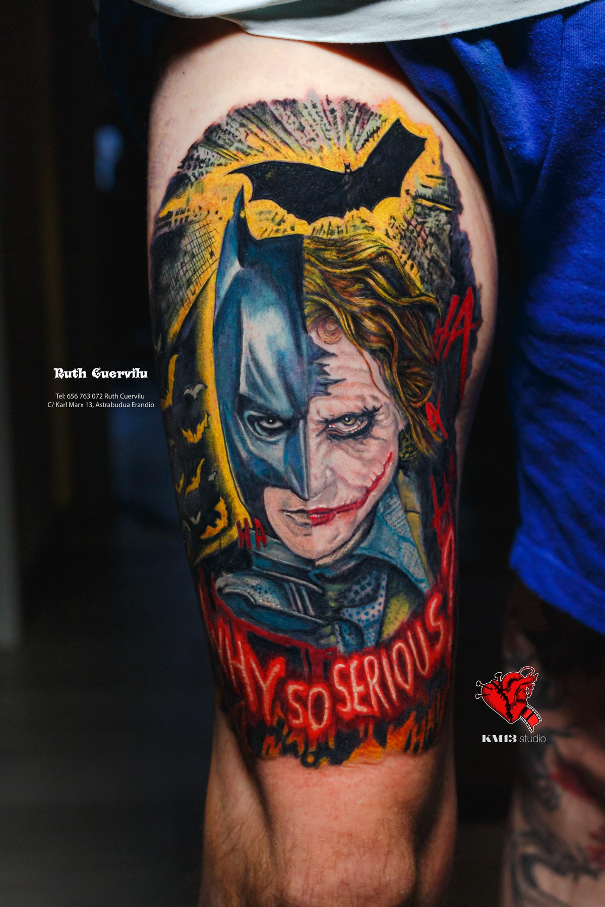 Tatuaje Realismo Batman Joker So serious - Ruth Cuervilu Tattoo - KM13 Studio - estudio de tatuajes erandio astrabudua bilbao bizkaia