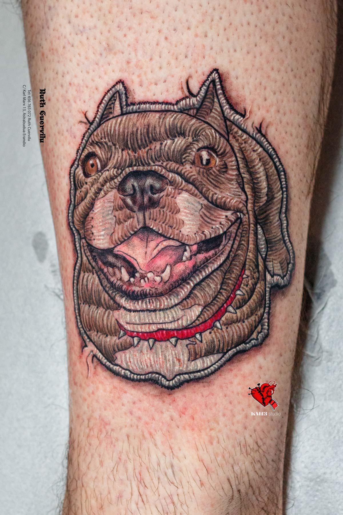 Tatuaje mascota perro realismo Parche Bordado Maddi - Ruth Cuervilu Tattoo - KM13 Studio - estudio de tatuajes erandio astrabudua bilbao bizkaia